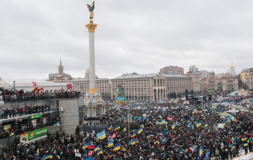 Protesters in Kiev's Independence Square.