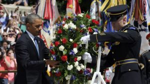 President Obama laying a wreath at the Tomb of the Unknown Soldier