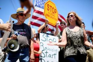 Protesters outside of Murrieta, California detention center