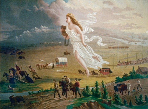 Jon Gast's famous painting American Progress depicts the idea of Manifest Destiny pretty well.