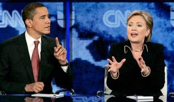 Barack Obama & Hillary Clinton during one of their debates in 2008.