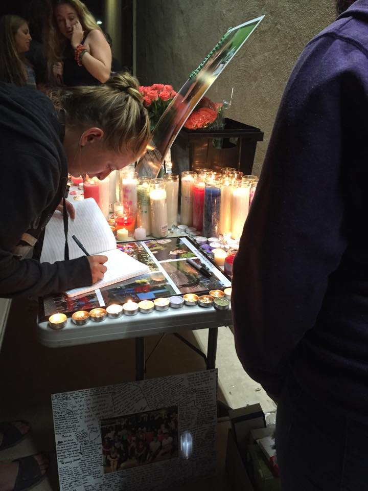 A picture of the table at Deanna's vigil.