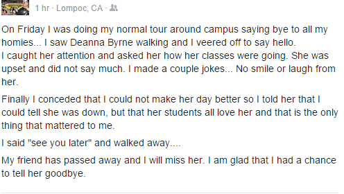 Deanna's colleagues and friends expressing their disbelief and grief at her passing.