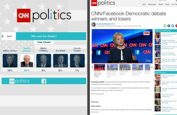The deleted poll in question juxtaposed with CNN's headline.