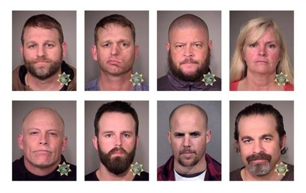 Mugshots of eight of the militia members that were arrested yesterday. Ammon Bundy is pictured in the top left corner with his brother, Ryan Bundy. (Photo courtesy of Multnomah County Sheriff's Office/AP)