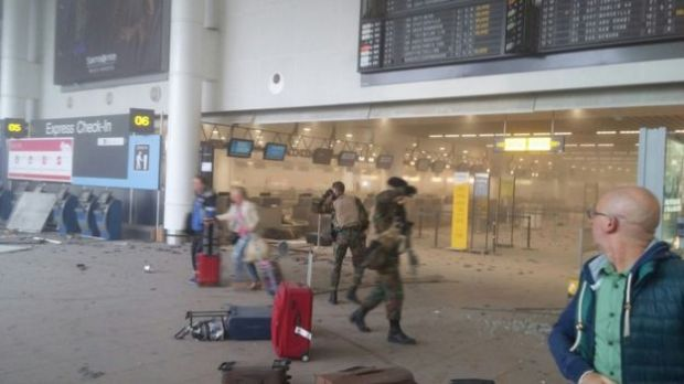 Scenes from inside the Brussels International Airport moments after the attack. (BBC)