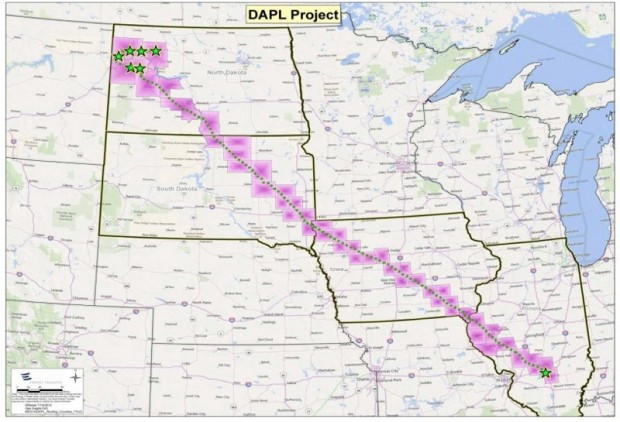 Proposed path of the DAPL (Credit to Dakota Access for the image).
