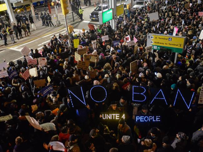 Protestors at John F. Kennedy International Airport. (Getty Images/Stephanie Keith)