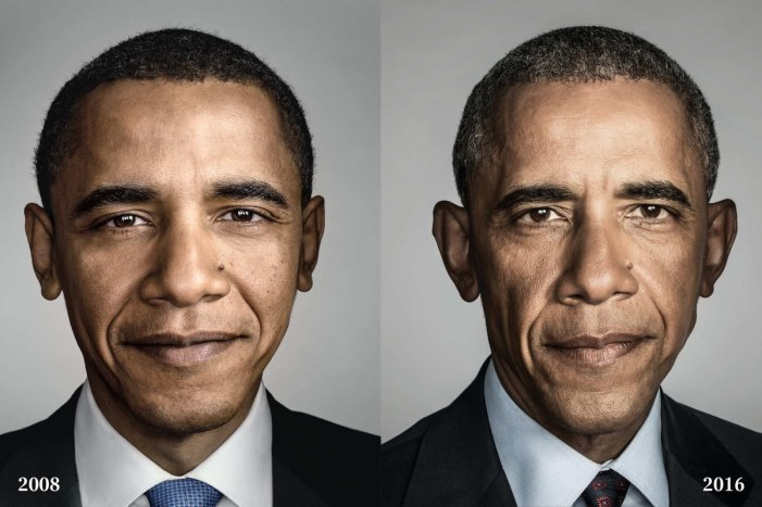 President Obama's before and after picture. (Dan Winters)