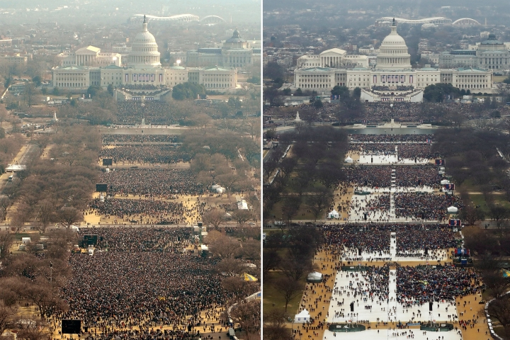 A side-by-sde comparison of Obam's 2009 inauguration and Trump's inauguration. (Getty Images/Emily Barnes; Reuters/Lucas Jackson)