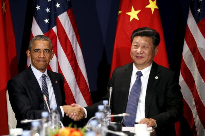 President Obama and Chinese President Xi Jinping at the beginning of the Paris Climate Agreement in 2015.
